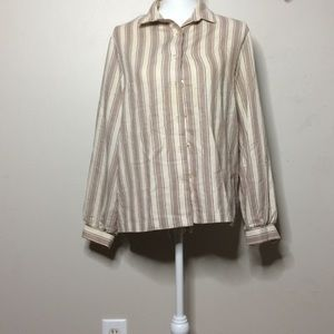 Tops - Lavender Stripe Button Down Blouse E1